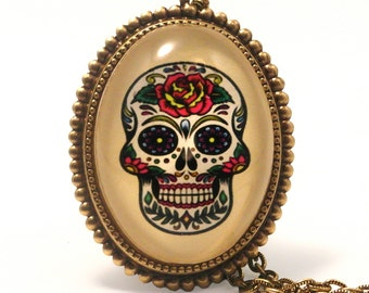 Calavera, Sugar Skull Day of the Dead Deluxe Necklace Mexican Halloween Jewelry Perfect costume jewelry for your costume