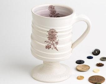White Coffee Mug - Ceramic Goblet - Stoneware Coffee Cup - Ceramic Tea Cup - Irish Coffee Mug