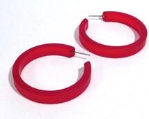 Cherry Red Frosted Hoops   red hoop earrings   The Leetie Classic Hoop   vintage ;ucite earrings #CLH-1RD