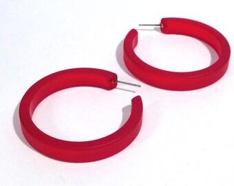 Cherry Red Frosted Hoops | red hoop earrings | The Leetie Classic Hoop | vintage ;ucite earrings #CLH-1RD