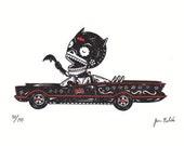 Old Bat Calavera Limited Edition Gocco Screenprint Day of the Dead Art