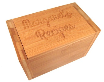 Personalized Recipe Box - Bamboo Wooden Custom Recipe Box