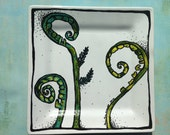 Porcelain Hand Painted Fiddlehead Fern Plate for Birthday Special Occasion Wedding or Engagement Gift REady to ship