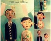 Custom Wedding Couple personalized clay folk art sculptures on base based on your wedding photos
