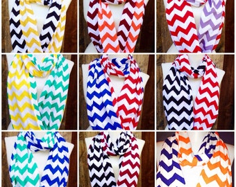 College Team scarves, Chevron Scarf, Infinity Scarves, football scarf,Graduation gift, Maroon,Red,Blue,Green,Yellow,Orange,Black,Gold