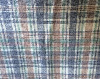 Vintage Plaid Wool - 1 Yard Plaid Wool / Brown Taupe Plaid / Plaid Fabric / Vintage Plaid / Vintage Wool Plaid