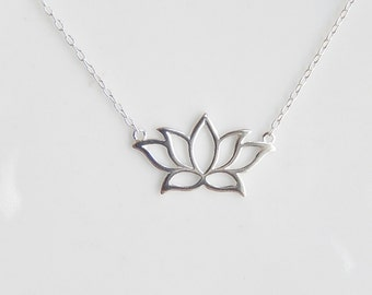 Sterling silver lotus necklace,yoga necklace, lotus flower necklace, spiritual necklace