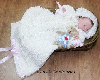 CROCHET PATTERN For Ruffled Snuggly Baby Sleeping Bag PDF 134 Digital Download