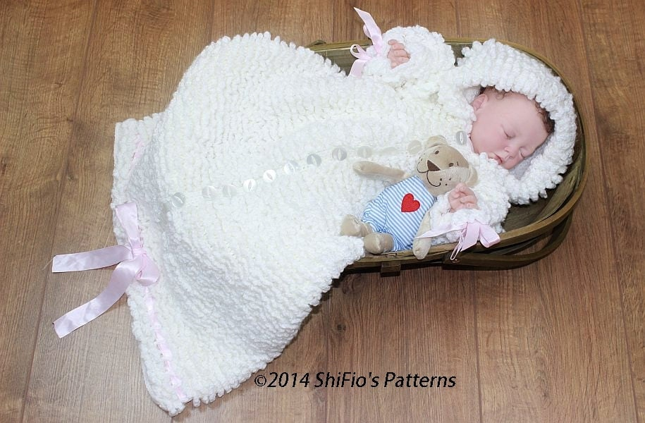 Crochet Pattern For Baby Sneakers : CROCHET PATTERN For Ruffled Snuggly Baby Sleeping Bag PDF 134