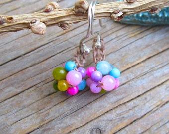 Tiny Bouquet crocheted gemstone earrings on sterling hooks