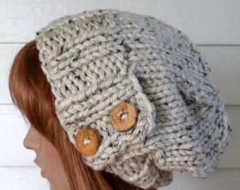 SALE Instant Download Knitting PATTERN, Knit Hat Pattern, Easy Slouchy Beanie Beret, Chunky, winter, ski, urban, boho, vegan, teen