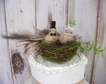 Bird Cake Topper and Twig Moss Nest- Wedding Cake Topper, Burlap Cake Topper, Bride and Grooms' Cake