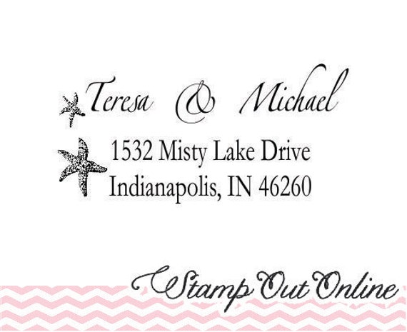 Self inking Starfish custom return address rubber stamps --2288