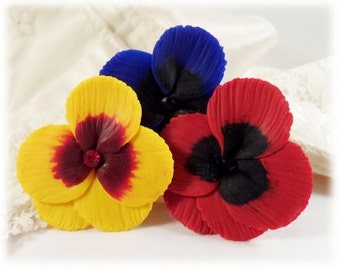 Pansy Hair Pins - Viola Flower Hair Pins, Pansy Bobby Pins, Pansy Hair Flowers, Pansy Hair Clips, Viola Hair Clips, Pansy Wedding Hair Pins