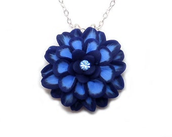 Colorful Dahlia Rhinestone Necklace - Hand Sculpted Petals Many Colors Available