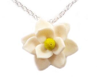 Magnolia Necklace - Southern Magnolia, White Magnolia Pendant, Magnolia Wedding Jewelry, Flower Jewelry