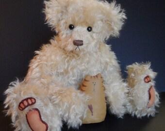 """18"""" mohair bear Taffy by Sheila Schuchert"""