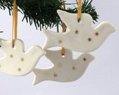 Three Porcelain Christmas Dove Ornaments With Gold Star Decoration