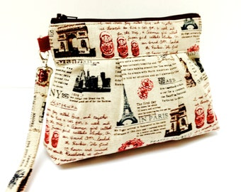 Clutch Purse Zippered Wristlet - Travel World Landmarks in Natural and Red