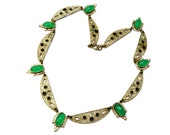 Vintage Art Deco Czechoslovakia signed neon green glass cab silver toned link necklace