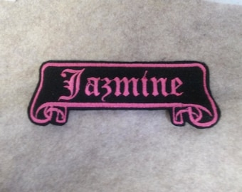 Old english  Name Patch scroll banner black felt with hot pink stitching
