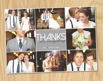 Brady Bunch Layout - Custom Printable Photo Wedding Thank You Card