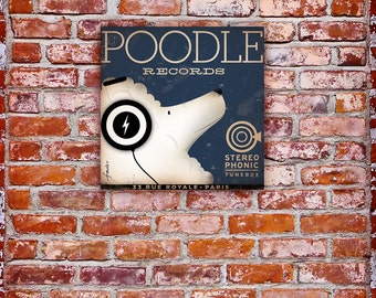 Poodle Records album style graphic artwork original on canvas by stephen fowler