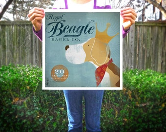 Regal Beagle Bagel company vintage style graphic artwork giclee archival signed print by stephen fowler Pick A Size