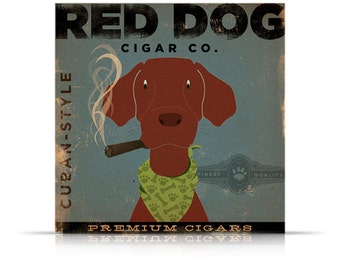 RED DOG CIGAR company advertising style artwork on gallery wrapped canvas by stephen fowler