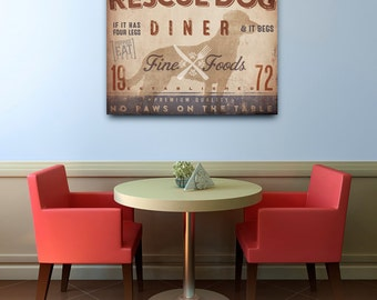 Rescue Dog kitchen diner artwork on gallery wrapped canvas by Stephen Fowler Pick Your Breed