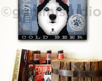 Siberian Husky Dog brewing beer company illustration graphic art on canvas by Stephen Fowler