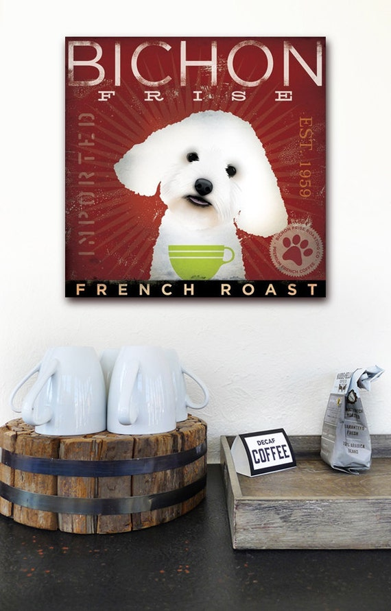 BICHON FRISE coffee company vintage style dog artwork on gallery wrapped canvas by stephen fowler