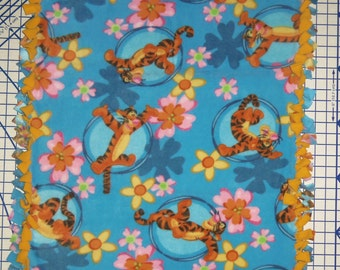 Disney Tigger Blue Gold Hand Tied Double Fleece Baby Pet Lap Blanket