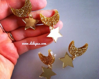 Sailor moon gold mirror and glitter laser cut stud earrings