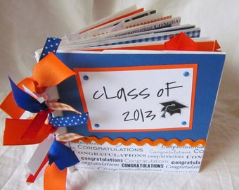 Graduation mini scrapbook album -- CLASS OF 2017 -- CuSToM PaPeR BaG Premade Scrapbook -- your choice of year and school colors, boy, girl