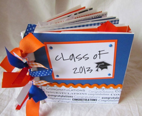 Graduation mini scrapbook album -- CLASS OF 2017 -- CuSToM PaPeR BaG Premade Scrapbook -- your choice of year and school colors