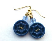 Blue Star Vintage Button Dangle Earrings
