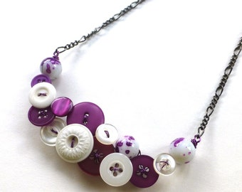 Purple and White Button and Bead Necklace