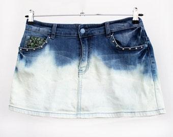 Agoraphobix Miss Malicious Dip dye studded ombre upcycled denim skirt   mini skirt