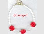 Red Rose White Jade Heart Boutique Bracelet