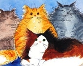 Maine Coon Cat Art Print Calico Red Brown Gray Tabby Abstract Cat ACEO Art Cat ACEO Print Maine Coon Cat Lover ACEO Print by Denise Every