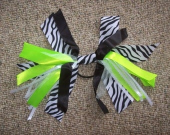 Zebra,Hair,Accessory,Pony Tail,Ribbons,Black, Striped,Lime Green,White,Gift,Girls,Women,Photo,Teens