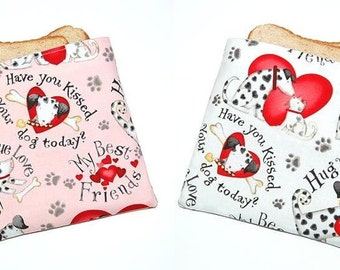DOGS and HEARTS - Eco Friendly Reusable Sandwich Bag Set