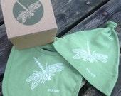 Dragonfly Bib & Hat Set Organic Cotton w/ Gift Packaging