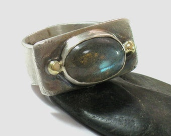 Labradorite Ring, Silver Labradorite Ring, Labradorite Sterling Jewelry, Blue Stone Ring, Blue Stone Jewelry, Silver Gold Ring,Mixed Metals
