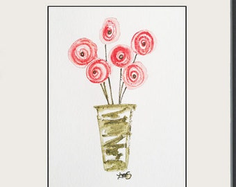 Whimsical Posey in a Pot - 5x7 - Original Watercolor Painting - Pink Ranunculus Flowers - still life art