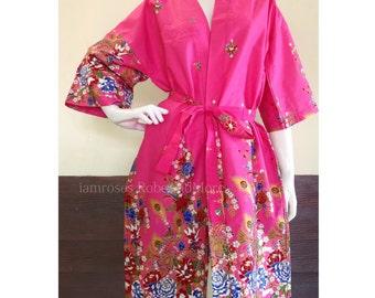 Hot Pink Print Thai Batik Floral Bath Braidsmaid Wedding Kimono Yoga Resort Cruise Robe M-XL (LR103) Free Shipping