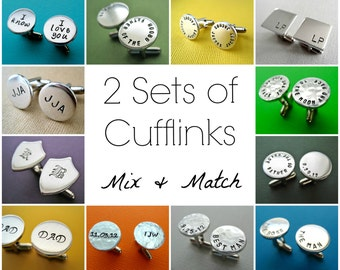 2 Sets of Personalized Cufflinks - Mix and Match Any Style - Custom Hand stamped Aluminum Cuff links