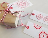 Red and White Spirograph Gift Tags - Great for Christmas