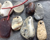 EARTHLY FINDS...12 beach treasure pendants - fossil - jewelry supplies- sea glass- rare-beige brown green white- natural history